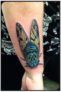Cicada Submit Your Tattoo Here: Tattoos.org Cicada Tattoo, Insect Tattoo, Beyond Skin, Best Color Schemes, Tattoo Designs, Tattoo Ideas, Future Tattoos, Skin Art, Body Mods