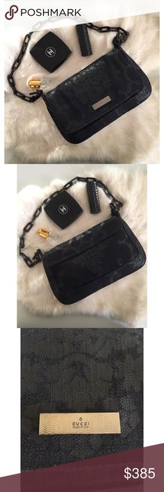 "Gucci Brocade Black Canvas Pochette Pre-owned Gucci bag/clutch is in good condition. Made in Italy. Light scratches on metal hardware. Canvas has slight creases on on top flap. Beautiful, very clean and well constructed. Measurements : Height 5.5"" , length 8.5"" . Serial # 007 2033 1705. Please note this bag is gently used and has slight imperfections from wear. No dust cover or box. Gucci Bags Mini Bags"