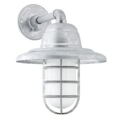 Atomic Industrial Guard Sconce, 975-Galvanized   CGG-Standard Cast Guard, FST-Frosted Glass