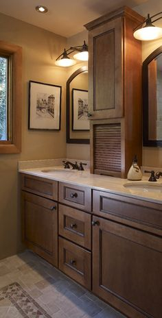 bathroom double sinks with tower storage - Google Search
