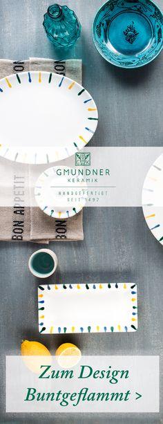 Entdeckt hier das farbenfrohe Design Buntgeflammt von Gmundner Keramik - handgefertigt seit 1492