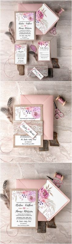Rustic bohemian lace and burlap wedding invitations @4LOVEPolkaDots