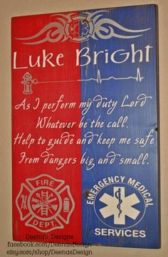 Firefighter/EMS Hybrid Wall Art, Firefighter/EMS Decor, Distressed Wall Decor, Custom Wood Sign - As I Perform My Duty - (smaller version) on Etsy, $41.00