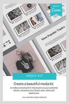 Make an amazing first impression on your potential clients, showcase brand, work, rates and experience with media kit. Planner Template, Brochure Template, Kit Media, Media Kit Template, Indesign Templates, Magazine Template, Cover Pages, Presentation, Lettering
