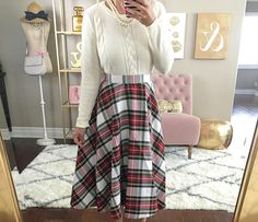 holiday outfit, Plaid midi skirt, Classic Crewneck Sweater, home decor, christmas outfit, holiday outfit, petite fashion, cable knit sweater, fall outfit, fall fashion - click the photo for outfit details!
