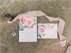 watercolor floral wedding invites @weddingchicks