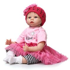 81.40$  Watch now - http://ali4la.worldwells.pw/go.php?t=32535271400 - Lifelike NPK Dolls 22inch/55cm Silicone Reborn Baby Dolls In Pink Doll Reborn For Girl Princess Gift Brinquedos For Child