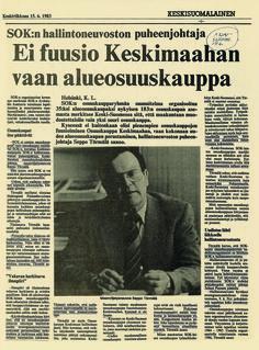 Lehtiartikkeli Keskisuomalaisesta vuodelta 1983.