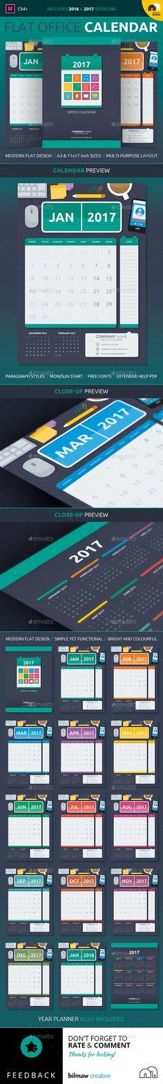 Flat Office Calendar | Print template | 2017 FLAT OFFICE CALENDAR. A3 & 11×17 inch (Tabloid) Versions // Mon & Sun Start included