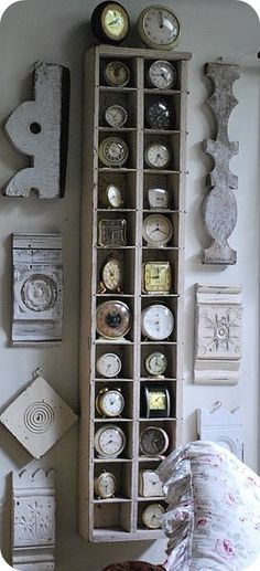 scraps of shabby wood & clock collection display! Old Clocks, Vintage Clocks, Antique Clocks, Vintage Display, Wall Of Clocks, Vintage Decor, Antique Shelves, Vintage Shelf, Vintage Ideas