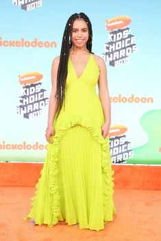 Kids' Choice Awards Fashion See The Best Dressed Stars – Hollywood Life Kids Choice Award, Choice Awards, Daniella Perkins, Lilly Singh, Skai Jackson, Candace Cameron Bure, Yellow Gown, Nice Dresses, Formal Dresses