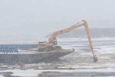Tugs moving a barge up the Moose River to winter storage at Moosonee on 2005 November 16 after ice formed on the surface of the river. Heads Up, Present Day, Breakup, Ontario, Vintage Photos, Moose, Bow, River, Entertaining