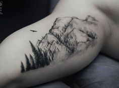 Usually, mountain tattoos are partnered with trees as in real life. But this…