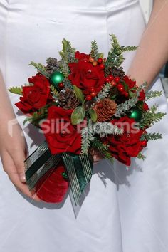 Holly & Bauble Christmas Winter Wedding Bouquet online from Silk Blooms at just £ It is an online artificial wedding flowers store in UK. Red Bouquet Wedding, Floral Wedding, Christmas Baubles, Christmas Wreaths, Christmas Wedding Flowers, Red Velvet, Bloom, Bridal, Holiday Decor
