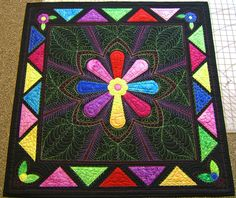 """Another machine quilters challenge.  This time we were given a bag of """"parts"""" and had to come up with a design and then quilt it."""