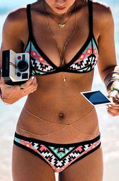 Love this Bohemian Style Bikini! Coral Aqua Black White Color Block Geometric Print Bikini Set