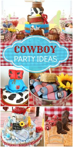 This cowboy birthday party features sunflowers, a fondant layer cake, red gingham and cowboy boots!  See more party ideas at CatchMyParty.com!