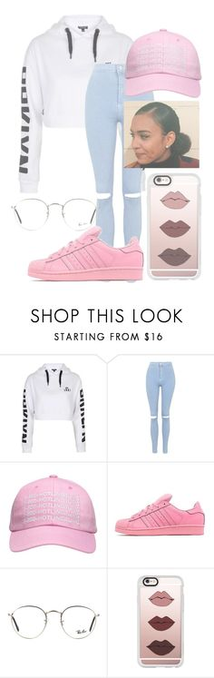 """hotline bling"" by bby-gal ❤ liked on Polyvore featuring Topshop, adidas Originals, Ray-Ban and Casetify"