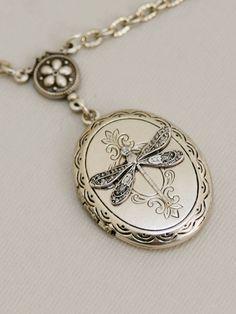 Love this Silver Dragonfly LocketSilver LocketLocketSilver by emmagemshop, $26.99