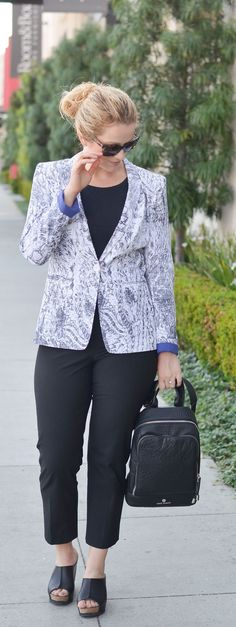 Statement Blazer Outfit - Armani Exchange Snakeskin Blazer, Black Trousers, Vince Camuto Backpack