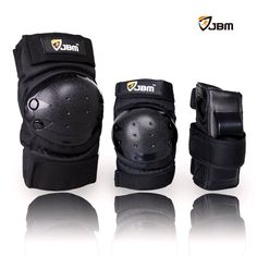 JBM international Adult / Child Knee Pads Elbow Pads Wrist Guards 3 In 1 Protective Gear Set, Black, Youth / Child