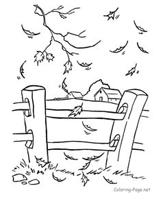 Line drawing of Fall leaves, fence and farm in background - good inspiration piece for projects.