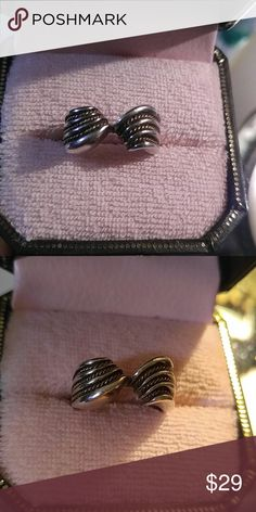 Sterling 10k Twisted Rope Ring SZ 7.5 or 8 Vintage ring with makers mark but I can't read anything but sterling and 10k. Approx size 7.5 or 8 10k  Jewelry Rings