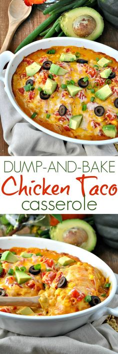 Get dinner on the table fast with this Dump-and-Bake Chicken Taco Casserole. Theres no prep work necessary for this cheesy one dish meal! @Campbells #ad