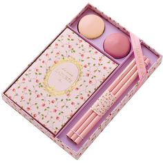 Ladurée Stationery Set - Versailles (€41) ❤ liked on Polyvore featuring home, home decor, stationery, fillers, accessories, makeup and pink