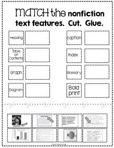 Text and Graphic Features Worksheets Free Nonfiction Text Features Matching Activity Reading Lessons, Reading Strategies, Reading Skills, Teaching Reading, Guided Reading, Library Skills, Comprehension Strategies, Teaching Ideas, Math Lessons