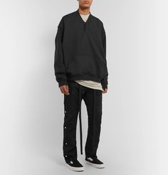 Fear Of God Oversized Loopback Cotton-jersey Henley Sweatshirt In Black Fashion News, Mens Fashion, Slim Fit Trousers, Converse Sneakers, Hoodies, Sweatshirts, Men's Style, Random Things, Street Wear