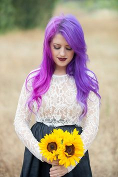 This two-toned hair + dress + dog combination gives us life engagement photography bride ideas wedding purple pink hair Lob Hairstyle, Dress Hairstyles, Wedding Hairstyles, Blond, Two Toned Hair, Star Wars Wedding, Wedding Hair Inspiration, Offbeat Bride, Gothic Wedding