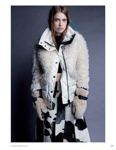 Kris Grikaite & Masha Skokova Layer Up in Autumn Coats for Vogue Russia