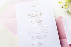 Glam Gold Engraved Pink Letterpress Wedding Invitations Sincerely Jackie6 Christine + Josephs Classic Pink and Gold Engraved Wedding Invitat...