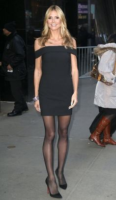 Heidi Klum Off-the-Shoulder Dress - Heidi Klum looked super slim and statuesque in an off-the-shoulder LBD by Elizabeth and James during her visit to 'Good Morning America. Heidi Klum, Beautiful Legs, Gorgeous Women, Red Satin Dress Short, Tight Dresses, Short Dresses, Pantyhose Outfits, Nylons, Great Legs