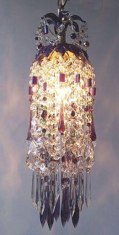 Mardi Gras Crystal Waterfall Pendant Chandelier by sheriscrystals, $224.95