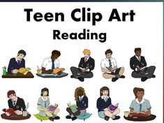 Make your Reading resources come to life with our Teen Reading Clip art. Excellent to have for high school resources especially those who create resources . Reading Resources, School Resources, Mindfulness Activities, Mobile Learning, Primary Classroom, Classroom Displays, New School Year, Classroom Management, High School