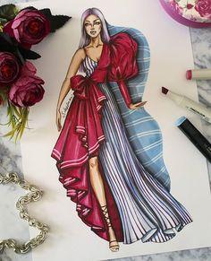 1,347 отметок «Нравится», 28 комментариев — Sveta Leyfman fashion artist (@svetaleyfman) в Instagram: «How do you feel about asymmetry❓😘💜…» Dress Design Sketches, Fashion Design Sketchbook, Fashion Design Drawings, Fashion Sketches, Fashion Drawing Dresses, Fashion Illustration Dresses, Dress Illustration, Fashion Dresses, Fashion Figures
