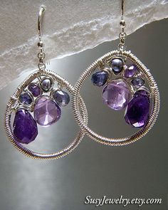 Wire Wrapped Earring  Mosaic Style Amethyst Pearl by susyjewelry, $97.00