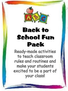 Back to School Fun Pack: Activities for the First Week of School- great ideas!!!