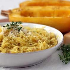 Delicious and healthy Spaghetti Squash with Parmesan and Fresh Herbs is a great alternative to pasta.