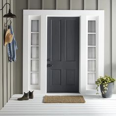 trendy ideas for farmhouse front door color trendy ideas for color doors for farmhouse front doors farmhouseModern masters express themselves from 1 qt. Satin Ambitious Red Water Based Front Door - The Green Exterior Paints, Exterior Gray Paint, House Paint Exterior, Exterior House Colors, Exterior Design, Black Exterior Doors, Exterior Paint Schemes, Black Shutters, Painted Front Doors