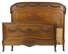 Antique Hand Carved French Walnut Bed Lot 224