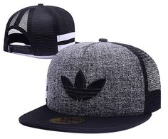 Men's Adidas Originals Clover 3D Embroidery Logo Customized Pattern Mesh Back Trucker Snapback Hat - Grey / Black / Black