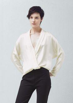 Blusa cruzada seda - Camisas de Mujer | MANGO España