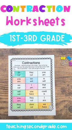 Use this 35 page resource with your 1st, 2nd, or 3rd grade classroom or home school students. These contraction worksheets are no prep, so your students can get lots of practice with these printables! You get activities for matching, cut and paste, games, puzzles, sentences, ABC order, interactive notebook pages, and more! These are great for centers or stations, early or fast finishers, review, morning work, seatwork, and more. #secondgrademath #mathactivities #teacherresources School Age Activities, Classroom Activities, Math Literacy, Teaching Math, Contraction Worksheet, Reading Comprehension Strategies, Daily Math, 3rd Grade Classroom, Second Grade Math