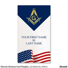 Custom masonic thank you cards silver foil pinterest masonic business card template american flag reheart Images