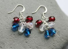 Patriotic Czech Glass Bead Cluster Earrings by creationsbycandice