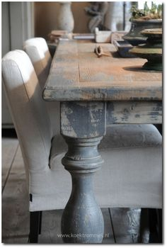 This That And Life Cream And Turquoise Distressed Farmhouse Table - Cream distressed dining table