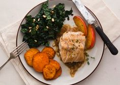 Black cod, kale salad with pine nuts & roasted sweet potatoes